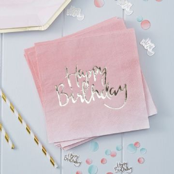 Pink Happy Birthday Napkins -  pack of 20